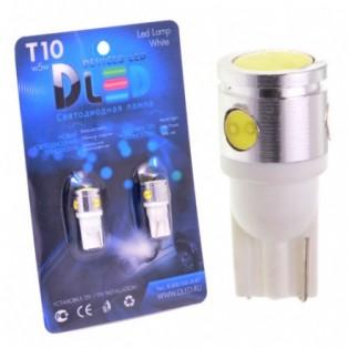 Автомобильная светодиодная лампа Т10-W5W-НР 1Led+3mini+линза 2,5 Вт 12V белый