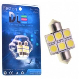 Автомобильная светодиодная лампа C5W SV8,5 31мм-SMD5050 6Led 1,44Вт 12V белый