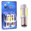 Автомобильная светодиодная лампа Р21/5W ВАY15D-НР 4Led+линза 6Вт 12V белый