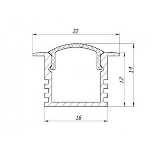 Профиль врезной аллюминиевый LC-LPV-1222-2 Anod