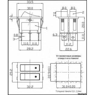 Микровыключатель RBW-213 круглый красный 6А