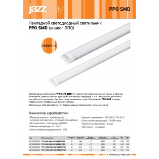 Светильник PPO 600 SMD 20W 6500K IP20 100-240V/50Hz