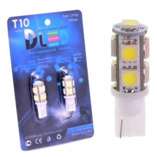 Автомобильная светодиодная лампа Т10-W5W-SMD5050 9Led 2,16Вт 12V белый