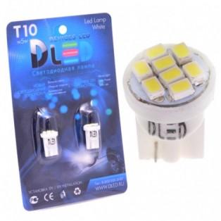 Автомобильная светодиодная лампа Т10-W5W-SMD3528 8Led 0,8Вт 12V белый